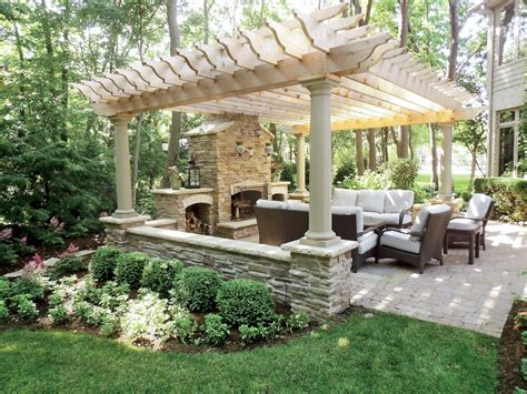 pergola backyard ideas pergola patio fireplace for my backyard juxtapost