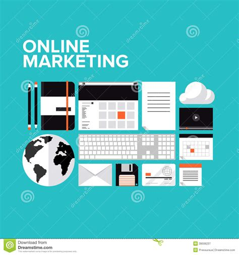 design online market online marketing flat icons set stock vector image 39506237