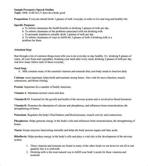 persuasive speech outline template 9 free sle
