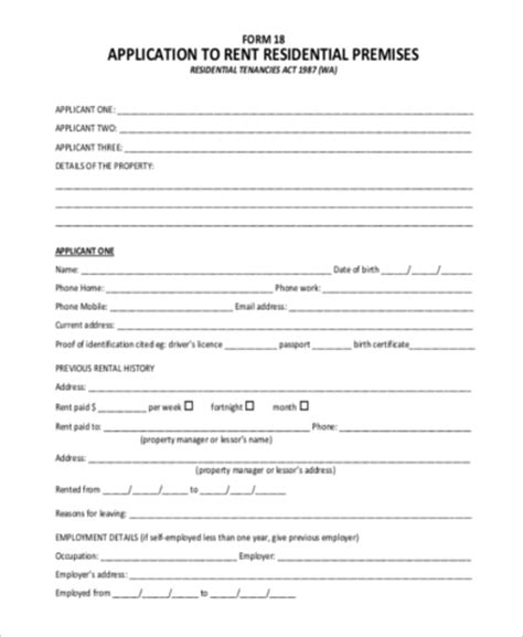 blank rental application form sle rental application forms in pdf 9 free documents