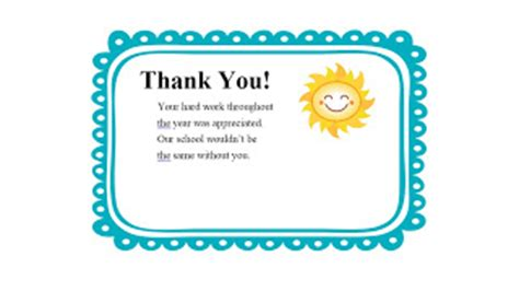 Thank You Note Template Kindergarten Forever A Forever A Learner Thank You Notes
