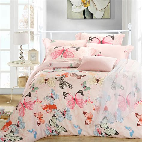 King Size Bedding Set 6 Aliexpress Buy Luxury Butterfly King Size Bedding Sets Pink Quilt Duvet Cover Sheets