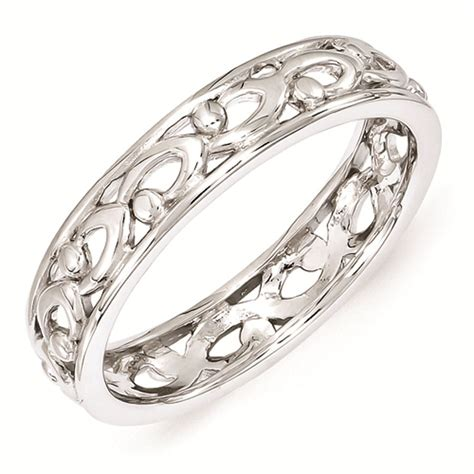 sterling silver stackable expressions carved ring