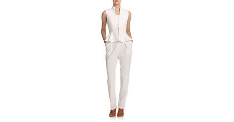 Jumpsuit Peplum Bordir White lyst erica peplum jumpsuit in white