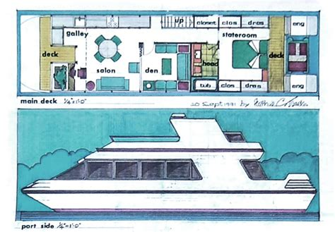 houseboat blueprints catamaran designs arthur c marks architect