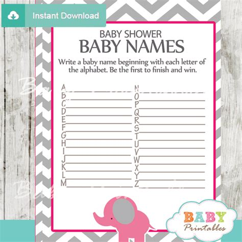 Baby Shower Baby Names by Pink Elephant Baby Shower Bundle D103