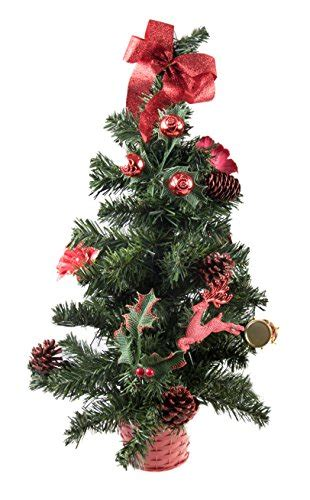 small artificial christmas tree decorated with red