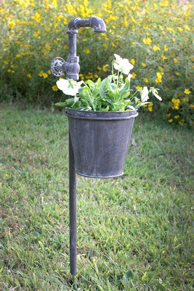 Lawn Planters by Faucet Metal Garden Stake With Planter Outdoor Decor Lawn Garden