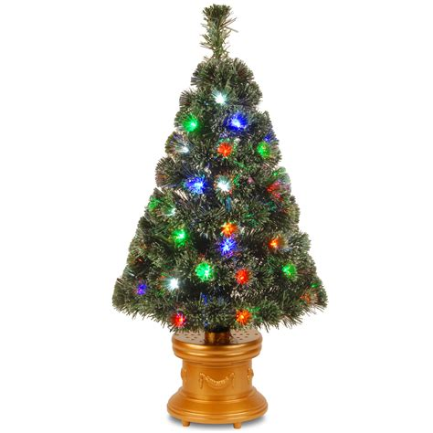 premier gold sequin fibre optic tree national tree co 36 quot fiber optic quot evergreen quot firework tree with 50 multi led in gold column base