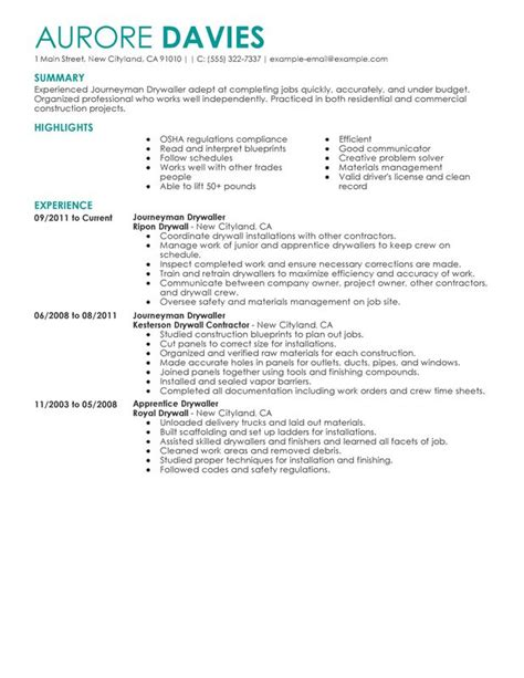 Journeyman Electrician Description by Journeymen Drywallers Resume Sle My Resume
