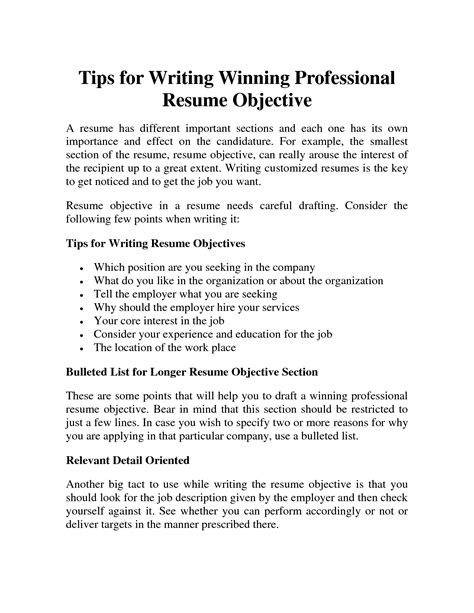 different objectives for resumes objectives in resumes different
