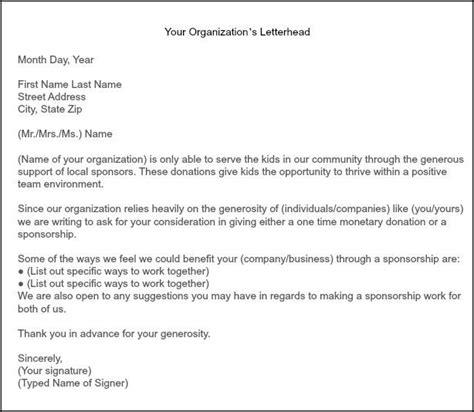 gallery softball sponsorship letter