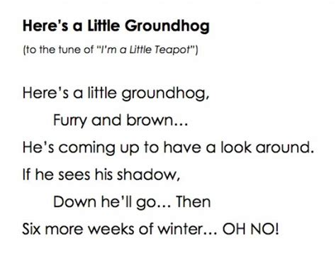 groundhog day poem here s a groundhog song via lovetoteach org free