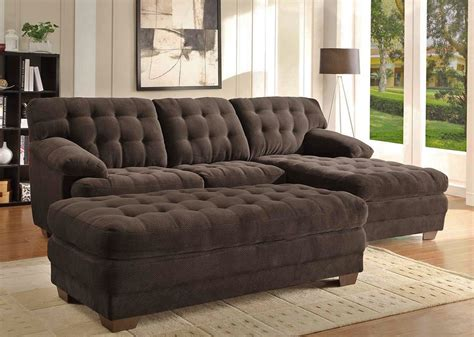 loveseat ottoman renton chocolate microfiber sectional sofa