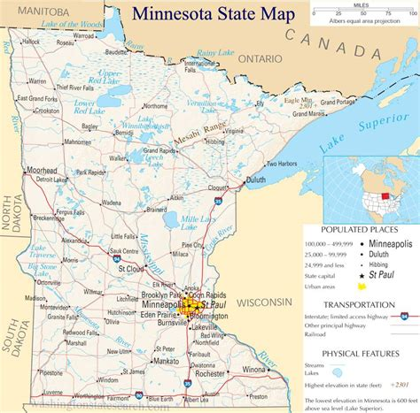 minnesota state map map of minnesota images