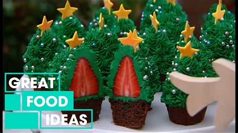 make your own strawberry christmas tree cupcakes food