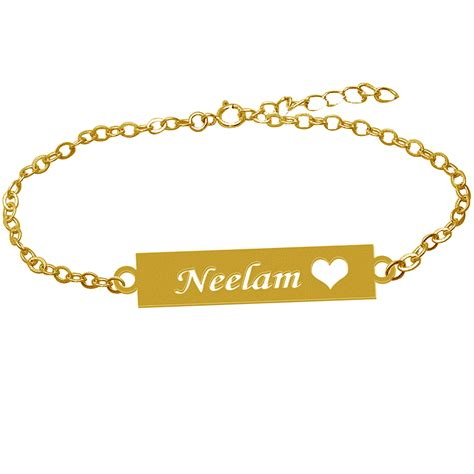 Heart Gold Name Bracelet