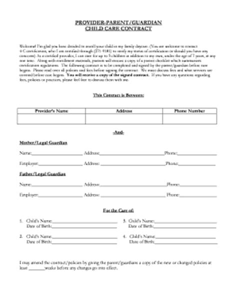 Sample Home Daycare Contracts Child Care
