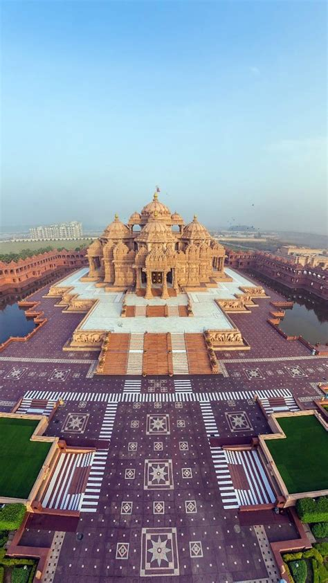 hd background beautiful akshardham temple panorama top view indian wallpaper wallpapersbyte
