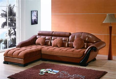 Bycast Leather Micro Suede Two Tone Brown Sectional Sofa Leather And Suede Sectional Sofa