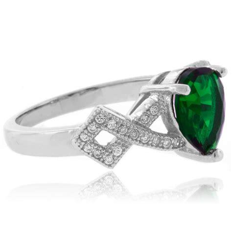 pear cut fashion emerald sterling silver ring silverbestbuy