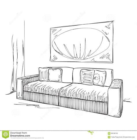 Room Interior Sketch Chair Sofa by Modern Interior Room Sketch Sofa Stock Vector