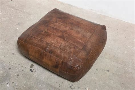 Patchwork Leather Ottoman Mid Century Patchwork Ottoman In Leather From De Sede 1976 At 1stdibs