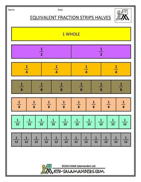 printable games for fractions equivalent fractions worksheet strips elementary math