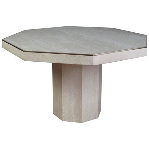 Octagonal Travertine Italian Dining Table At 1stdibs Travertine Top Dining Table