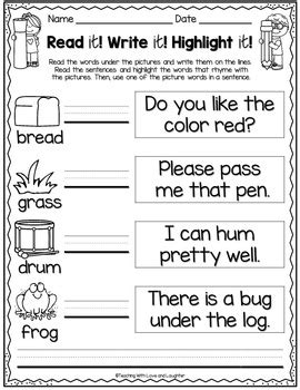 Read it! Write it! Highlight it! {Rhyming Words Edition} | TpT