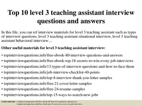 top 10 level 3 teaching assistant questions and