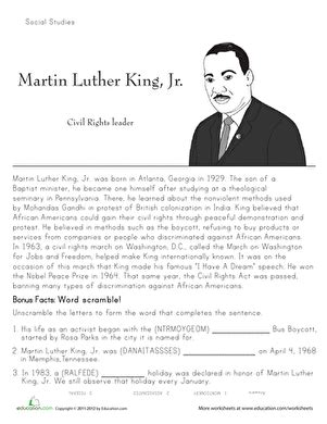 martin luther king biography for students martin luther king jr historical heroes worksheet