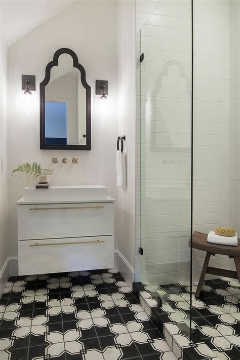 black and white bathroom tiles in a small bathroom small bathroom with black and white geometric tile floors