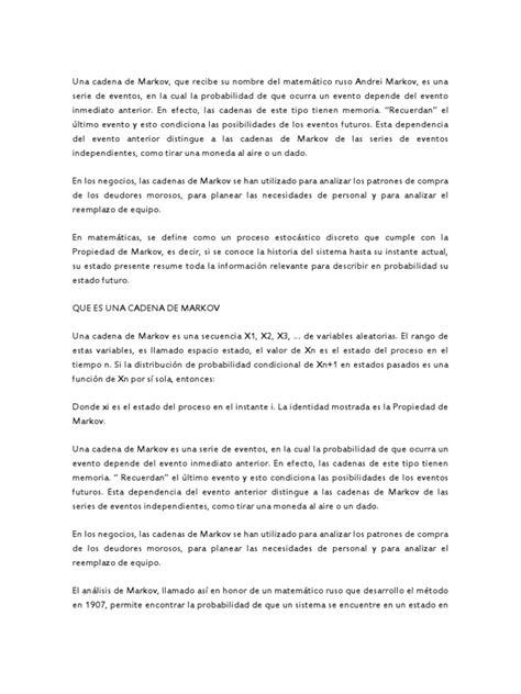 resumen cadena markov - Cadenas De Markov Resumen