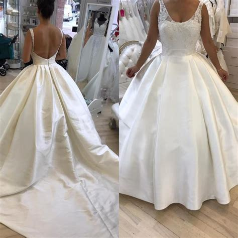 backless ball gown wedding dressplus size lacesatin