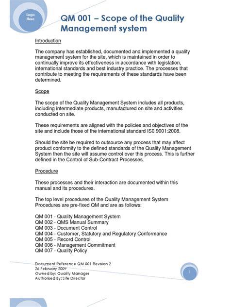 Exle 2 Qm 001 Quality Management System Scope Quality Management System Iso 9001 2015 Scope Template