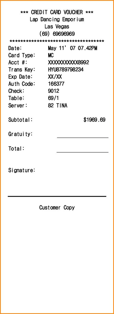 Credit Card Payment Slip Template by 11 Credit Card Receipt Template Invoice Template