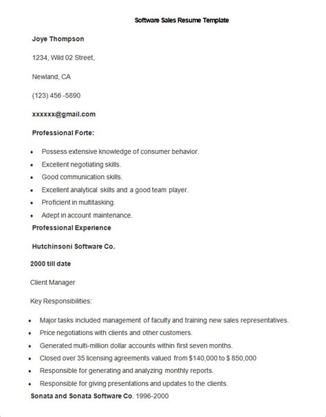 Resume Sles Of Experienced Software Professionals Sales Resume Template 41 Free Sles Exles Format Free Premium Templates