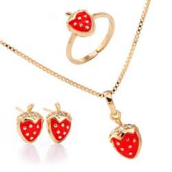 Childrens Gold Chains New Cubic Zirconia Cz Stone Strawberry 18k Yellow Gold Plated Pendant For Necklace Earrings Ring