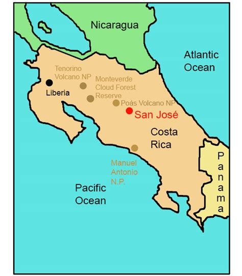 san jose nicaragua map costa rica for