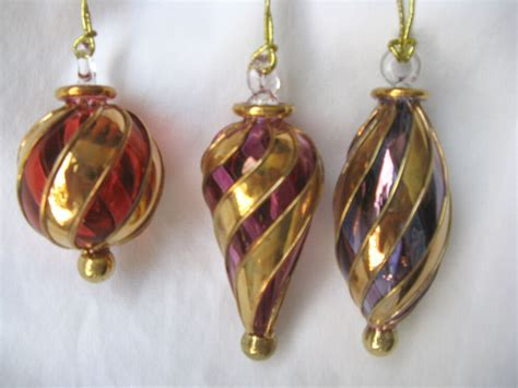 high end glass christmas ornaments 3 high quality glass gold ornament set 113s ebay