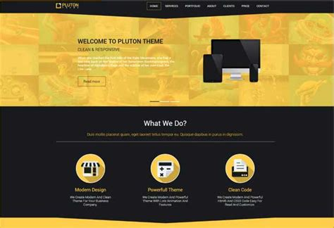 Pluton Free Website Template Creative Beacon Yellow Pages Website Template Free