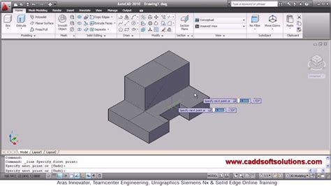 autocad tutorial with commands autocad 3d presspull command tutorial autocad 2010 youtube