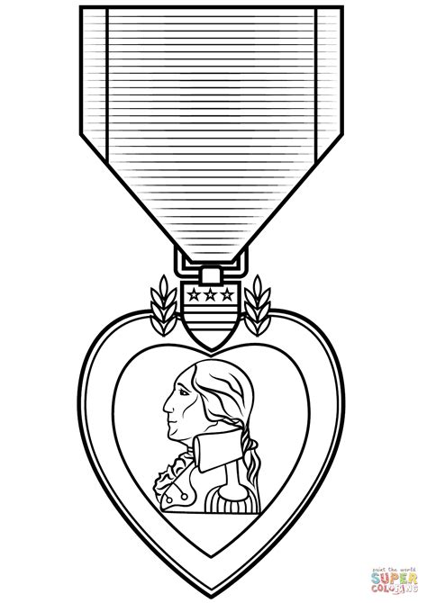 Purple Heart Coloring Page | purple heart medal coloring page free printable coloring