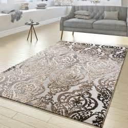 teppich grau kurzflor teppich wohnzimmer abstrakt ornament muster kurzflor
