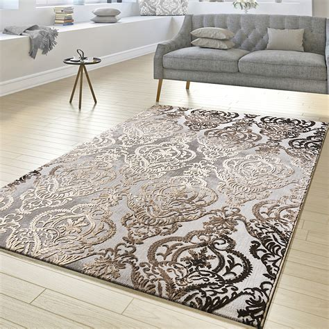 teppich kurzflor grau teppich wohnzimmer abstrakt ornament muster kurzflor
