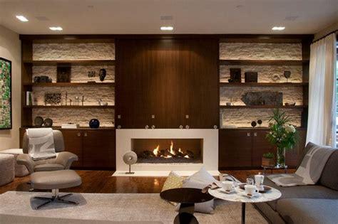 Living Room Design With Ls Combinacion De Piedra Y Gabinetes Y Repisas Modernas
