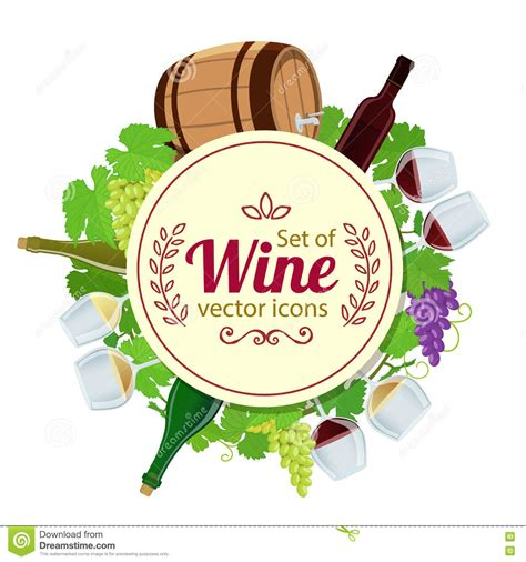 circle menu card template set of wine icons in circle shape background vector