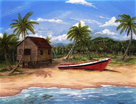 Tropical Hut Tropical Hut Painting By Frank Anatol
