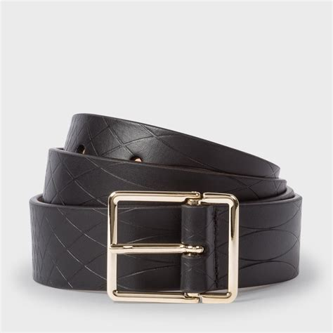 paul smith no 9 s black leather belt in black for